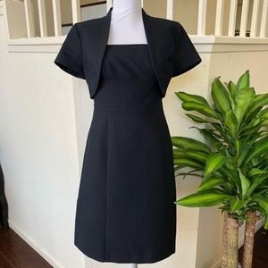 Ann Taylor Navy Sheath Dress with Cropped Jacket